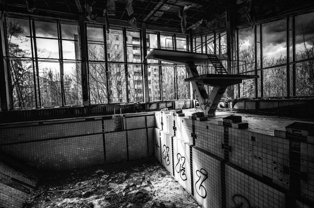 Wnętrze basenu w Prypeci